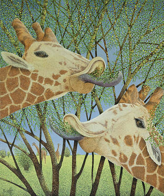 Giraffe Painting - Life At The Top by Pat Scott
