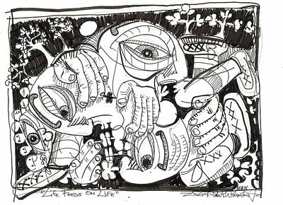 Abstract Expressionism Drawing - Life Feeds On Life by Robert Wolverton Jr