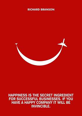 Branson Digital Art - Life Happiness Quote Richard Branson  Quotes Poster by Lab no 4 The Quotography Department