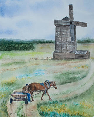 Old Wooden Wagon Painting - Life In A Village by Valentina Copeland