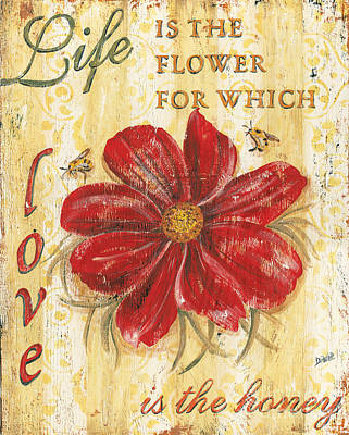 Bee Painting - Life Is The Flower by Debbie DeWitt