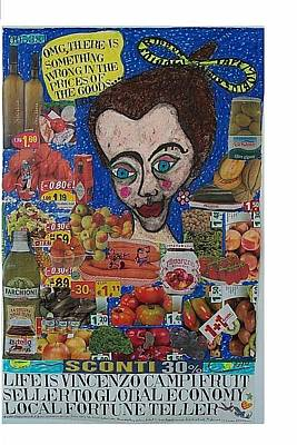 The Economy Mixed Media - Life Is Vincenzo Campi Fruit Seller To Global Economy Local Fortune Teller by Francesco Martin