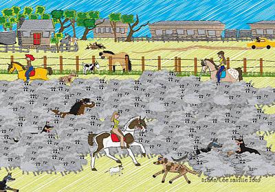 Kelpie Digital Art - Life On A Sheep Station by Diana-Lee Saville
