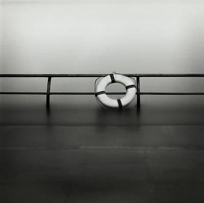 Black Tie Photograph - Life Ring On Boat In Yokohama Port by Spitz_uta97