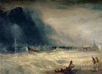 Lifeboat And Manby Apparatus Going Off To A Stranded Vessel Making Signal Of Distress Print by Joseph Mallord William Turner