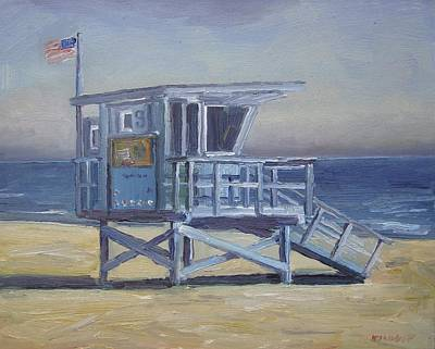 Malibu Painting - Lifeguard Tower by John Kilduff