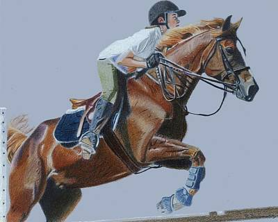 Life's Hurdles With Grace - Horse Painting Print by Patricia Barmatz
