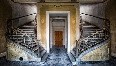 Light Above The Stairs - Urban Exploration Print by Dirk Ercken