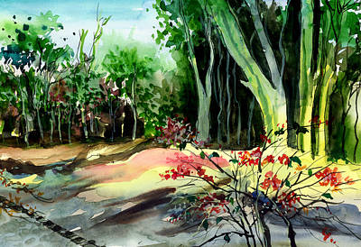 Light In The Woods Print by Anil Nene