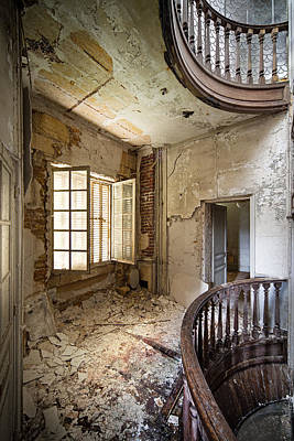 Light On The Balcony - Abandoned Castle Print by Dirk Ercken