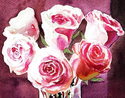 Red Painting - Light Over Roses by Irina Sztukowski