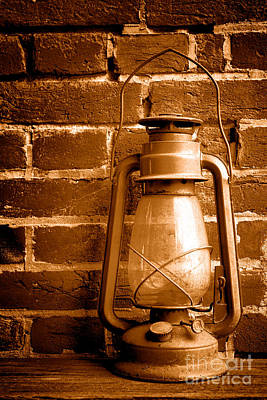 Oil Lamp Photograph - Light Past - Sepia by Olivier Le Queinec