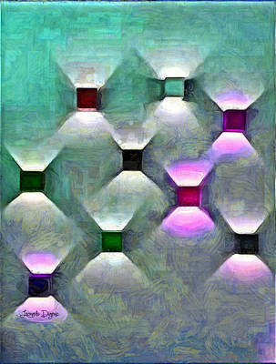 Round Painting - Light Spots by Leonardo Digenio