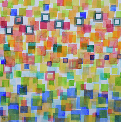 Abstract Painting - Light Squares And Frames Pattern by Heidi Capitaine