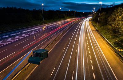 Light Trails On The M6 Motorway. Print by Daniel Kay