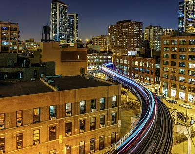Skyscraper Photograph - Light Trails Through Chicago by Sabih Jafri