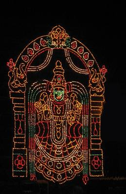 Lighted Durga Print by Umesh U V
