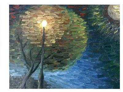 Night Lamp Painting - Lighthouse by Aida Behani