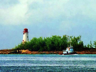Boat Photograph - Lighthouse And Boat Nassau Bahamas by Susan Savad
