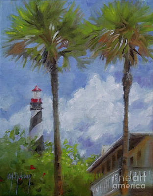 Lighthouse And Palms Print by Mary Hubley