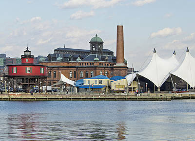 American City Scene Photograph - Lighthouse And Pier 6 - Baltimore by Brendan Reals