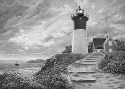 New England Lighthouse Painting - Lighthouse At Sunset - Black And White by Lucie Bilodeau