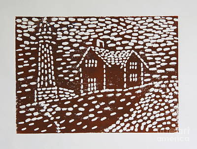 Lino-cut Mixed Media - Lighthouse by Christiane Schulze Art And Photography