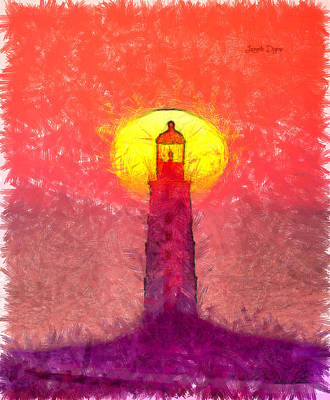 Pencil Digital Art - Lighthouse - Da by Leonardo Digenio
