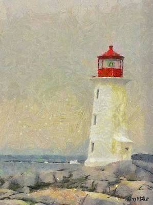 Atlantic Digital Art - Lighthouse by Jeff Kolker