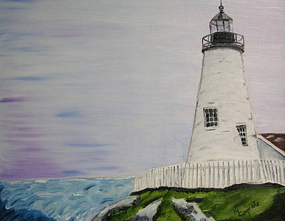 Seascape Painting - Lighthouse by Mary Capriole