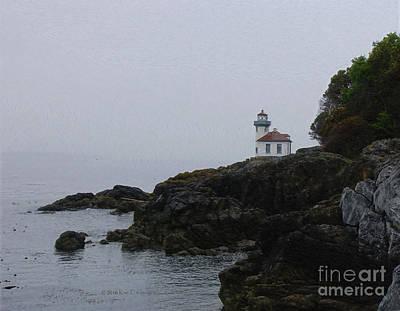 Lighthouse On Rainy Day Print by Kae Cheatham