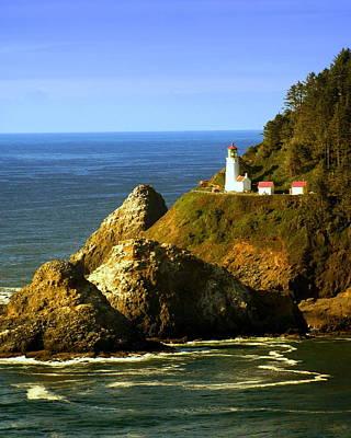 Lighthouse On The Oregon Coast Print by Marty Koch