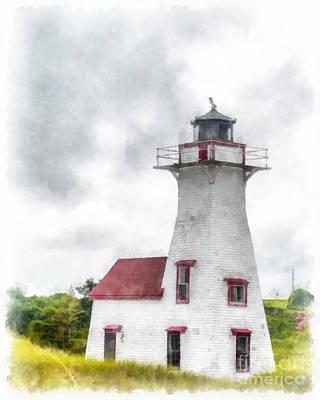 Beam Digital Art - Lighthouse Prince Edward Island Watercolor by Edward Fielding