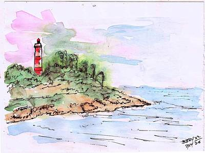 Wash Drawing - Lighthouse by Subhamay Ray
