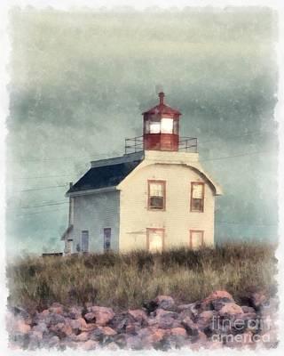 Lighthouse Digital Art - Lighthouse Watercolor Prince Edward Island by Edward Fielding