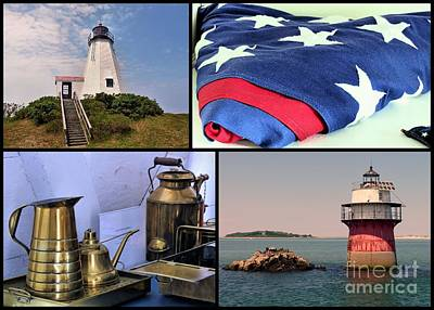Lighthouses Of Plymouth Ma Print by Janice Drew