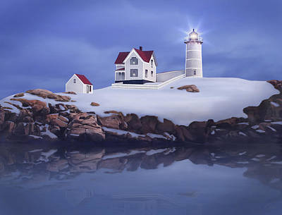 Maine Lighthouses Painting - Lighting Of The Nubble Lighthouse by James Charles