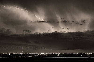 Lightning Cloud Burst Boulder County Colorado Im39 Sepia Print by James BO  Insogna