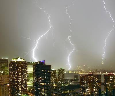 Images Lightning Photograph - Lightning Dance by Photography by Steve Kelley aka mudpig