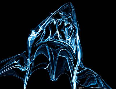 Hammerhead Shark Drawing - Lightning Great White Shark by Abstract Angel Artist Stephen K