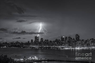 Lightning Over New York City Vi Print by Clarence Holmes