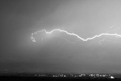 Lightning Over North Boulder Colorado  Ibm Bw Print by James BO  Insogna