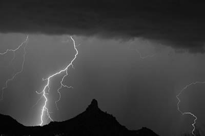 Lightning Storm At Pinnacle Peak Scottsdale Az Bw Print by James BO  Insogna