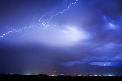 Lightning Strikes Over Boulder Colorado Print by James BO  Insogna
