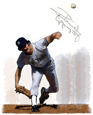 New York Yankees Drawing - Lightning Strikes Ron Guidry by Iconic Images Art Gallery David Pucciarelli