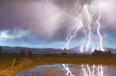 Lightning Striking Longs Peak Foothills 4 Print by James BO  Insogna