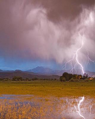 Lightning Striking Longs Peak Foothills 7c Print by James BO  Insogna