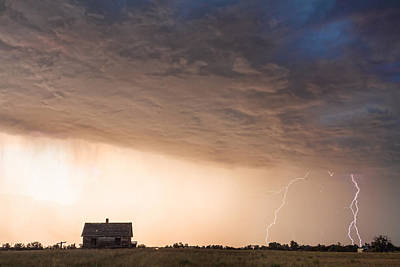 Weather Photograph - Lightning Striking On The Colorado Prairie Plains  by James BO  Insogna