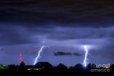Lightning Thunderstorm July 12 2011 Two Strikes Over The City Print by James BO  Insogna