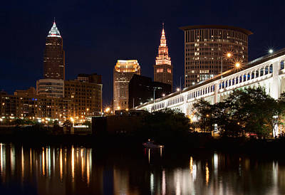 Cuyahoga Photograph - Lights In Cleveland Ohio by Dale Kincaid